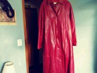 red button-up long-sleeved dress