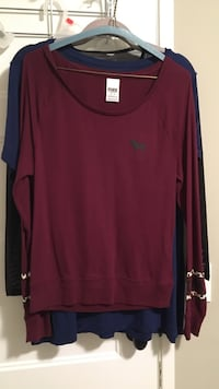 red scoop-neck long sleeve shirt