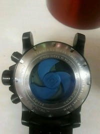 round silver-colored watch with black leather strap Antelope, 95843