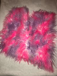 red and red fur vest