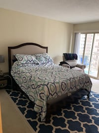Queen size bed, box spring, and frame   Arlington