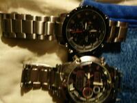 round black chronograph watch with silver link bra Waterloo, N2L 5E6