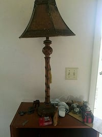 brown wooden base with beige lampshade table lamp Palm Bay, 32905