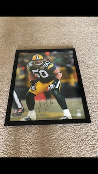 A.J. Hawk Autographed Football Photo