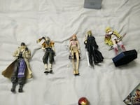 Final Fantasy Cloud Strife, Tales of Xilia Millia Maxwell and three One Piece characters figurines