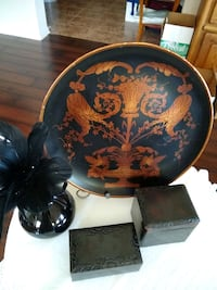 Asian inspired decor antique lacquer boxes vase Pearland