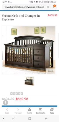 black wooden crib with changing table Carlisle, 72024