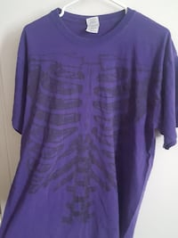 purple skeleton-print shirt