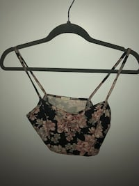 black, gray, and green floral spaghetti straps crop top New Westminster, V3M 6Z5