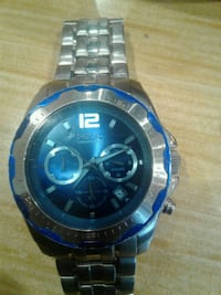 round blue and silver chronograph watch with silver link bracelet San Antonio, 78207