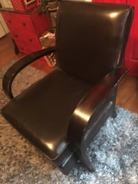 Faux brown leather chair wooden arms