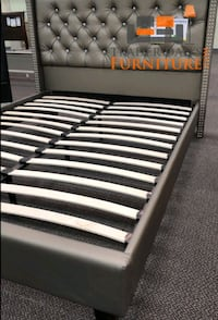 Brand New Queen Size Silver Leather Platform Bed Frame  Silver Spring, 20902
