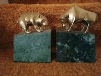 Bear and bull bookends- brass on marble  Westport, 06880