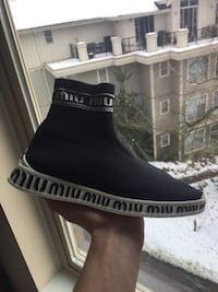 Miu Miu Sock Knit High-Top Trainer Sneakers  Vancouver