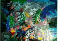 green, red, and blue abstract painting Wilmington, 28409