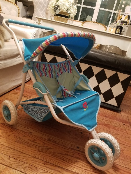 American Girl Bitty Baby or Twins blue Double Stroller for Dolls New in Box!