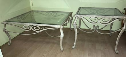 Metal Glass Top Coffee Table And End Table Set