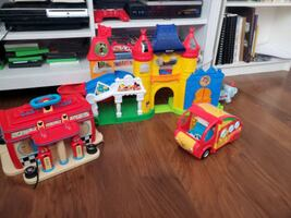 Mickey mouse playhouse car, & gas station