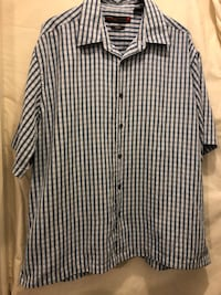 Perry Ellis America blue & white sueded button down short sleeve shirt mens XL Independence, 97351