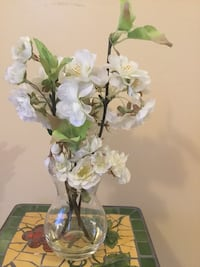 White and green artificial flower