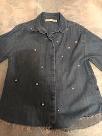 Shirt jean with pearls kids size 10 small make Vaughan, L4L