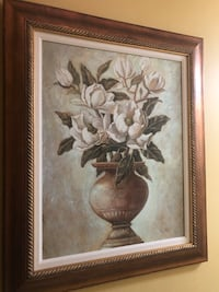 White petaled flower painting with brown wooden frame