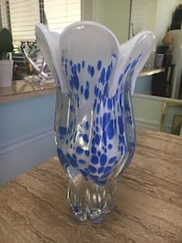 White and blue Art Glass Vase Ormond Beach, 32174