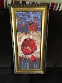 "Red tulip painting with brown frame 24""x10"" Tuscumbia, 35674"