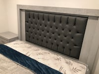 New Gray King Bed, Night Stand, Chest and Mirror (NO MATTRESS)