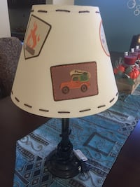 beige and black table lamp