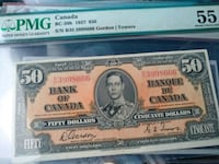 1937 $50 About Uncirculated Canada Note Bill Brampton, L6V 1N4