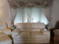 Overstuffed LazyBoy Ivory Leather Chair, Loveseat Des Moines