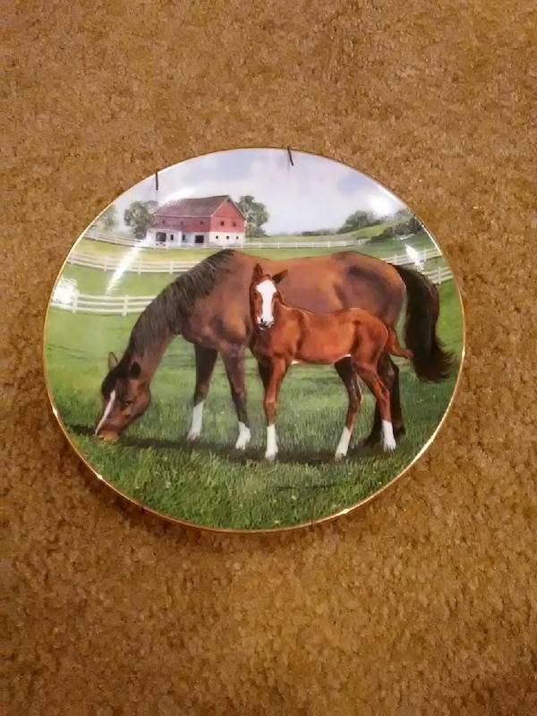 two brown horse painted ceramic plate decor