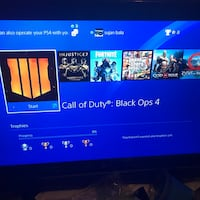 Ps4 slim 500 gb come with controller , controller grip case, headset wired , black ops 4 injustice 2 legendary edition , gta 5, god of war . Ps4 is mint condition  also black ops4 comes in CD rest are on console . Toronto, M1E