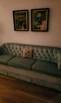 black leather tufted sofa with throw pillows Annandale, 22003