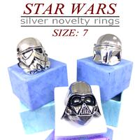 Star Wars Silver Novelty Rings Very Popular (Darth Vader, Storm Trooper, Boba Fett) Carmichael
