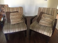 Two brown wooden framed padded armchairs Newport Beach, 92660