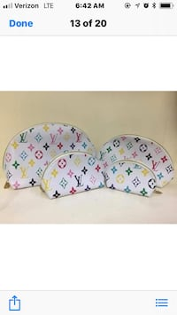 White and pink  print 2 piece cosmetic authentic leather l v bags you choose Xl, L, M, S, or xsmall Los Angeles, 91324