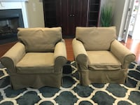 2 tan Pottery Barn chairs with washable covers Raleigh, 27603