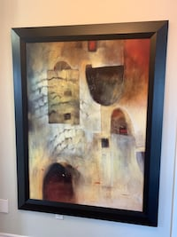 Abstract painting in wood frame