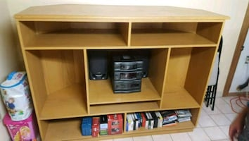 Corner solid wood tv/ entertainment unit