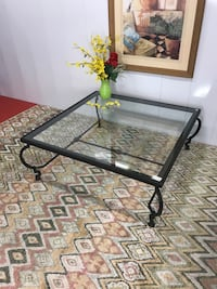 Large Metal Glass Top Coffee Table (Indoor/Outdoor) Delivery Service Available Boynton Beach, 33436