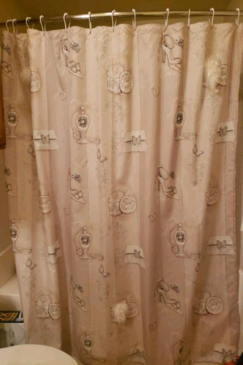 Photo Shower curtain. Comes with matching hooks. From bed bath & beyond