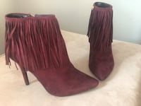 Ankle Booties Suede Burgundy Heels Size 9 Commerce City