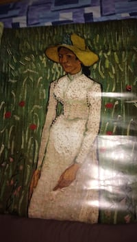 Frameless painting of woman