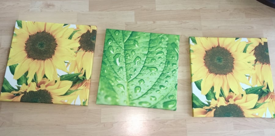 3 pictures floral green and yellow 45630434-d8ab-40f5-88c8-3e0a187a1866
