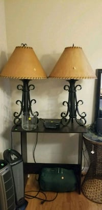 two brown wooden base table lamps with white lamps Arlington, 22201