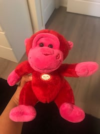 NEW Red & Pink Monkey with Kissing Sound Markham, L3R