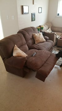 Recliner sofa and oversized chair with big ottoman