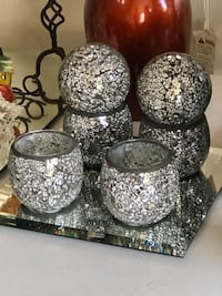 """Gorheous Crackled Glass Candle Holders 4"""" NEW $15/each"""